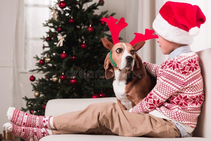Boy and his dog on christmas royalty free stock photos