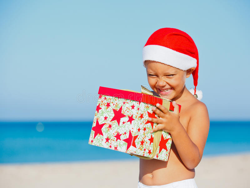 Little Boy In Santa Hat Royalty Free Stock Images