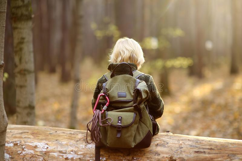 Little boy scout during hiking in autumn forest. Child is sitting on large fallen tree stock photo