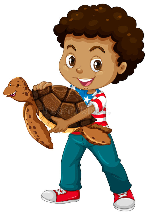 Little boy and sea turtle royalty free illustration