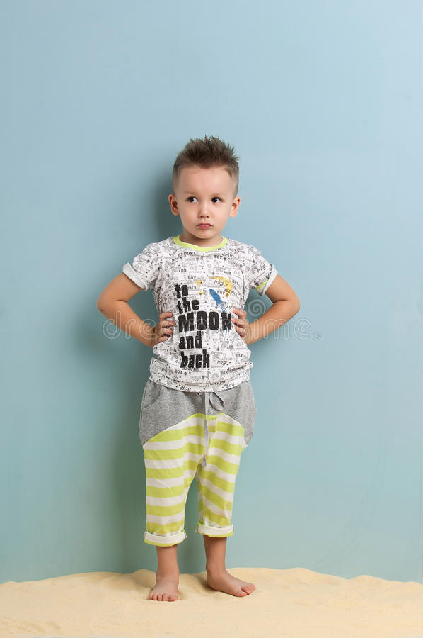 Little boy in shorts royalty free stock images