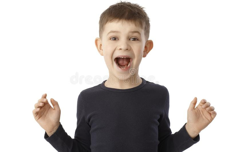 Little boy shouting happy. Looking surprised with open arms stock photography