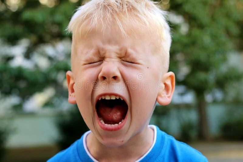 Little boy is shouting stock photo
