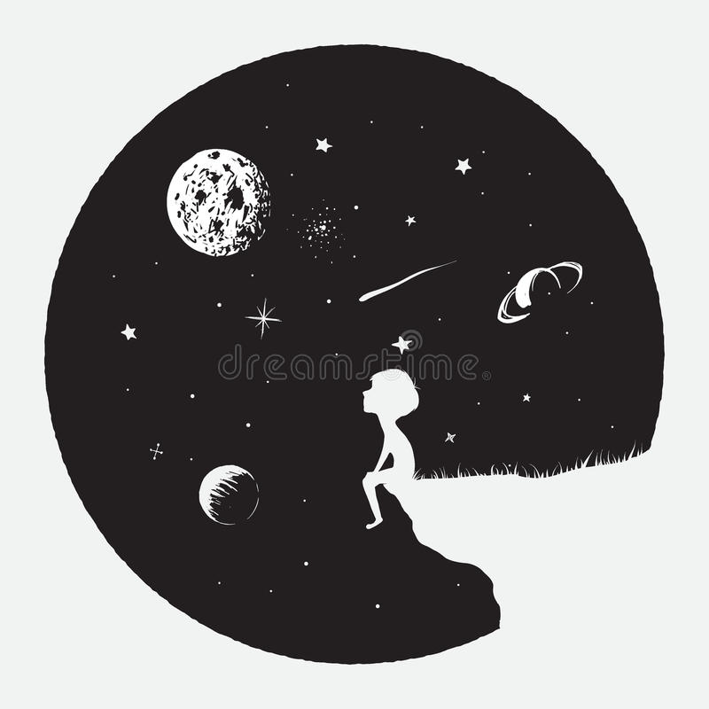 Little boy sits on mountain and looks to full Moon. Astronomy and science theme.Childish vector illustration.Prints design stock illustration
