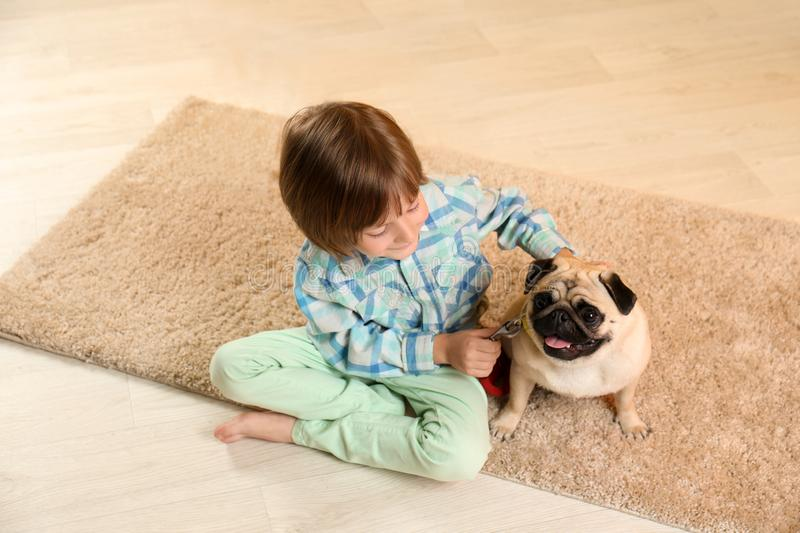 Little boy sitting with cute pug dog on floor at home stock photo