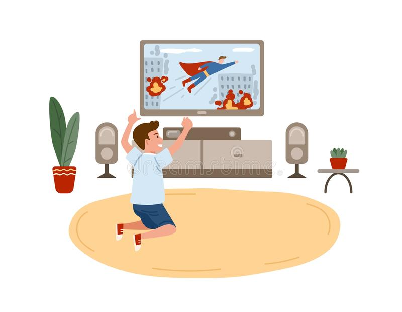 Little boy sitting on floor and watching superhero movie, action film or television channel for children on TV set. Home vector illustration