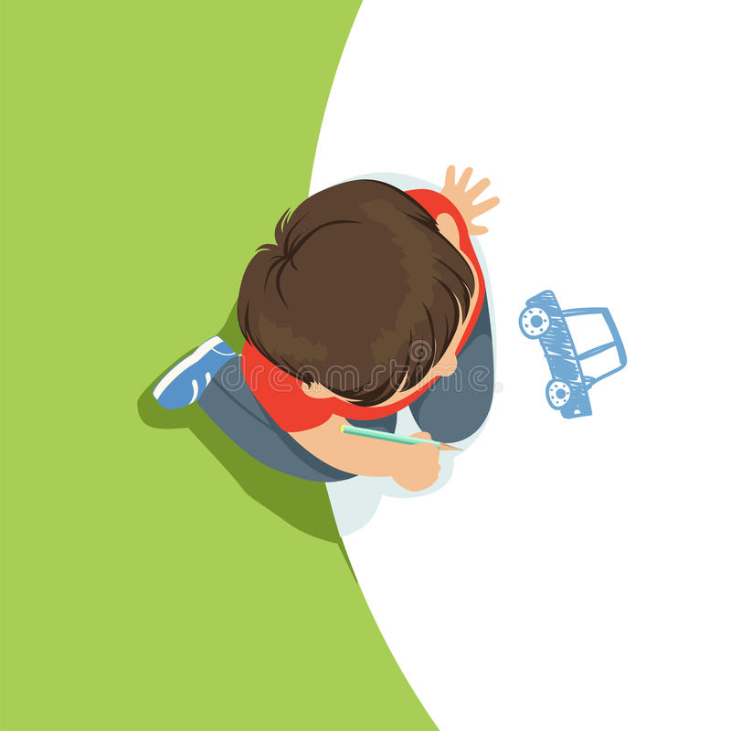 Little boy sitting on his knees and drawing a car using blue pencil, top view of child on the floor royalty free illustration