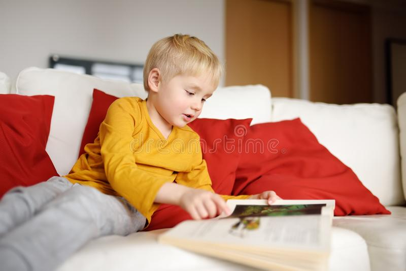 Little boy is sitting at home on the couch and reading a book. Learning to read royalty free stock image