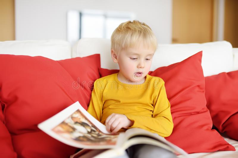 Little boy is sitting at home on the couch and reading a book. Learning to read royalty free stock photos