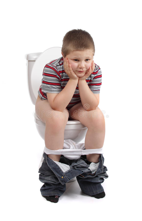 Download Little Boy Is Sitting On Toilet Stock Image - Image: 14823251