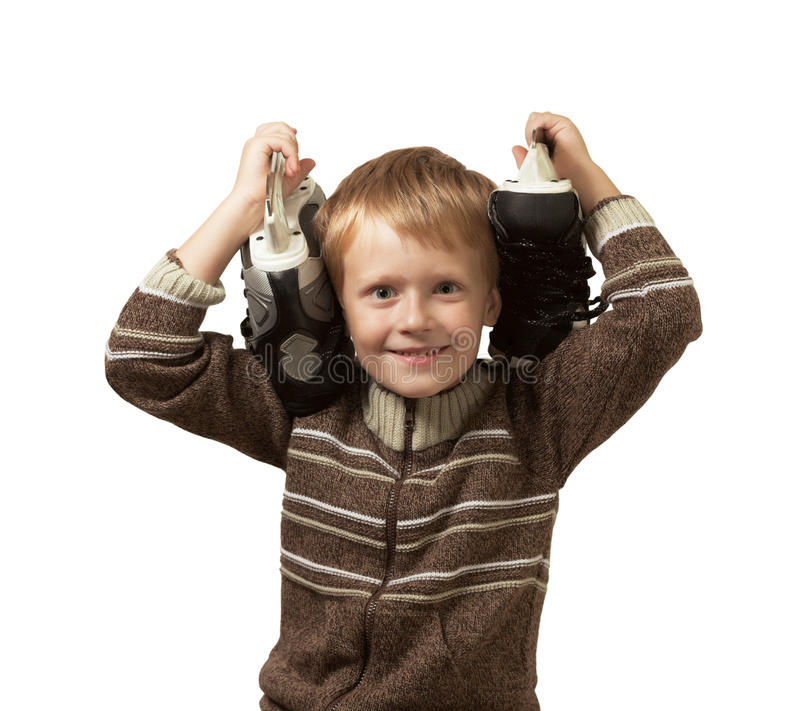 Download The Little Boy With The Skates In A Sweater Stock Photo - Image: 15992286