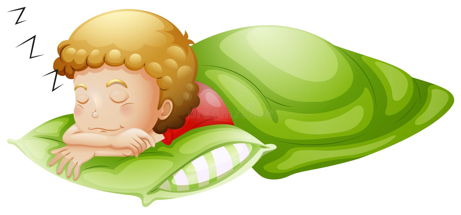 A little boy sleeping soundly stock illustration