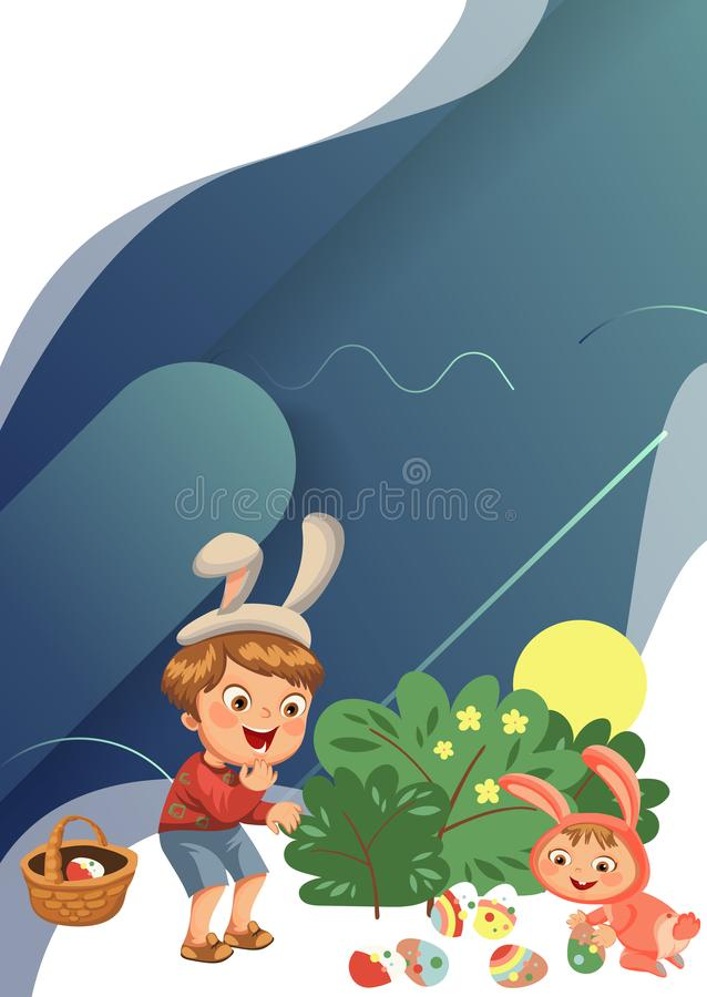 Little boy smile hunting decorative chocolate egg under brush in easter bunny costume with ears and tail, vector stock photo