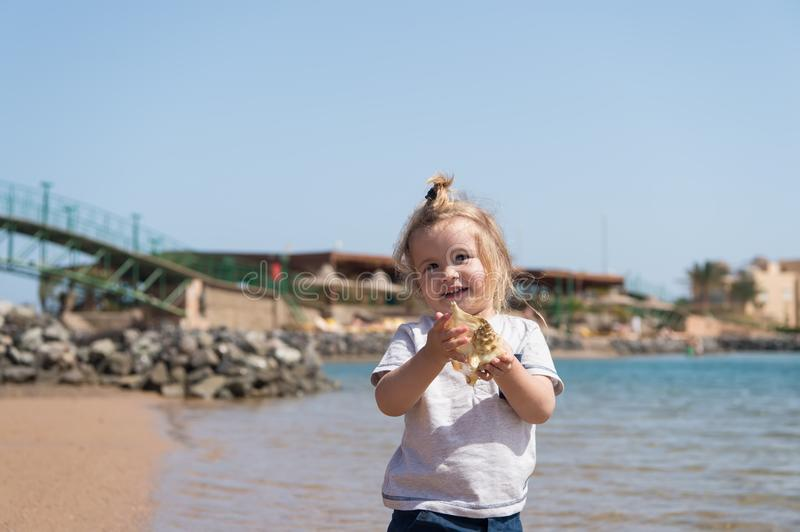Little boy smile with shell on sea beach. Child play with seashell on sunny seascape. Freedom, discovery and adventure. Summer vac stock images