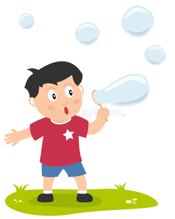 Little Boy with Soap Bubbles. A cute little boy playing with soap bubbles. Eps file available stock illustration