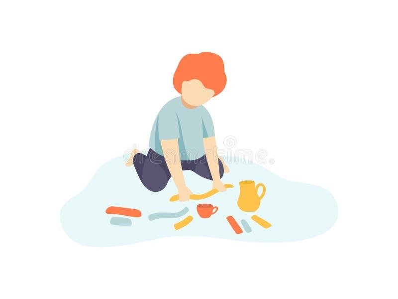 Little Boy som sitter på golv och gör diagram från plastellina, ungekreativitet, utbildning, utvecklingsvektor stock illustrationer