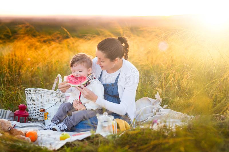 Little boy son and his pregnant mother on a picnic on a beautiful autumn or summer day. Happy family and healthy eating concept stock photos