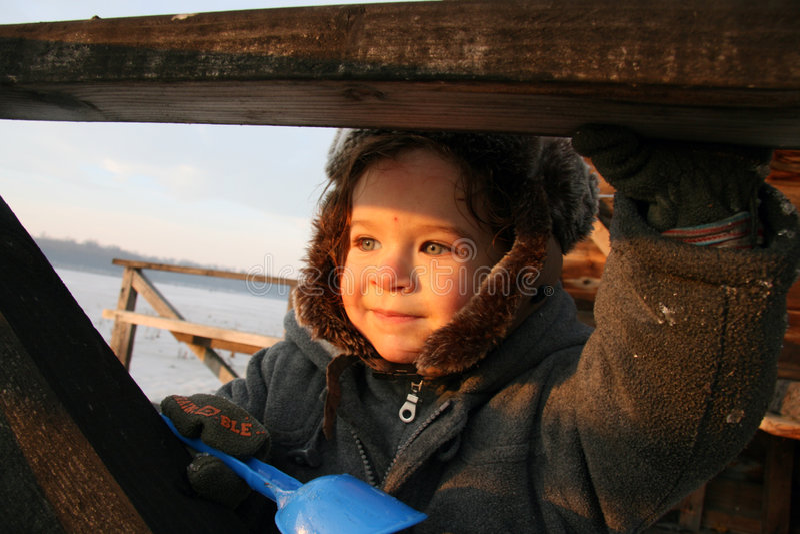 Little Boy sorridente immagine stock