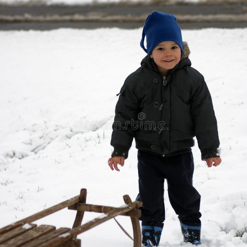 Little child at winter stock images