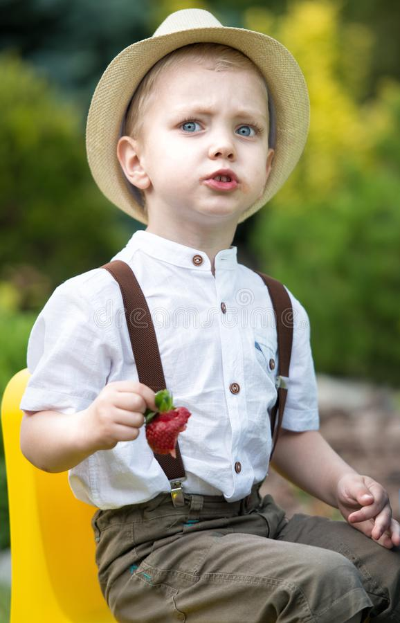 Little boy in straw hat eating a ripe fragrant strawberries. stock image