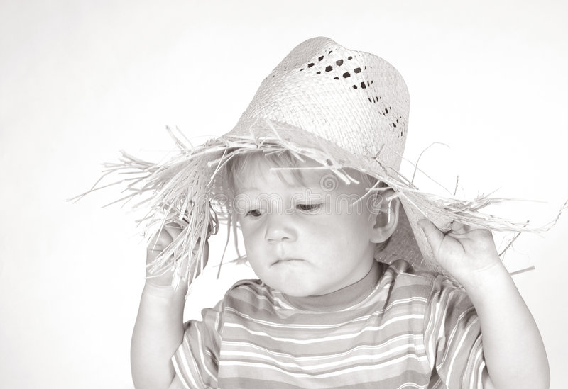 Download Little Boy With Straw Hat III Stock Image - Image of straw, people: 174355
