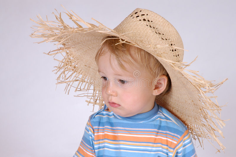 Download Little Boy With Straw Hat IV Stock Photo - Image of funny, family: 174356