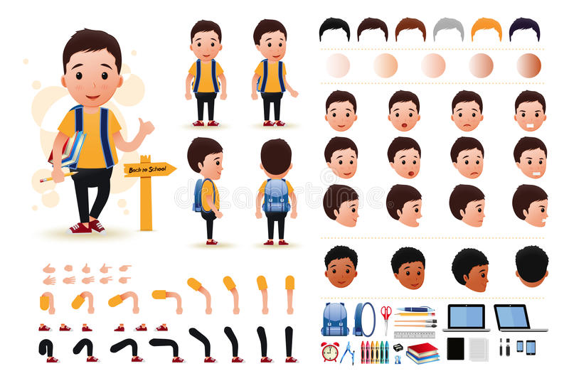 Little Boy Student Character Creation Kit Template with Different Facial Expressions. Hair Colors, Body Parts and Accessories. Vector Illustration vector illustration