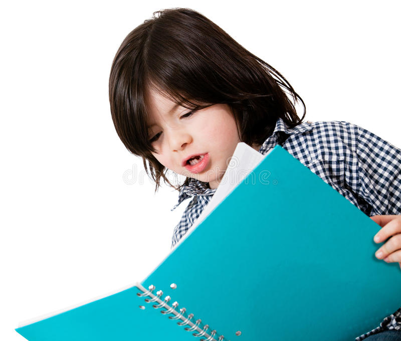 Download Little boy studying stock photo. Image of scholar, cute - 25241536
