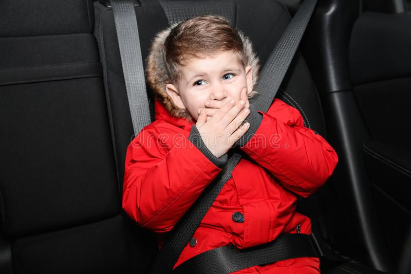 Little boy suffering from nausea stock photos