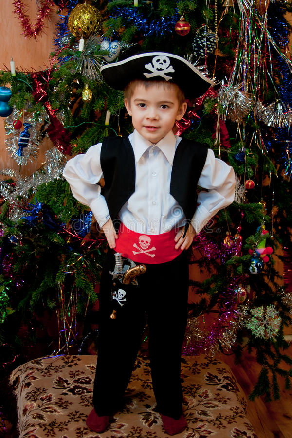 Little boy in the suit of pirate royalty free stock images
