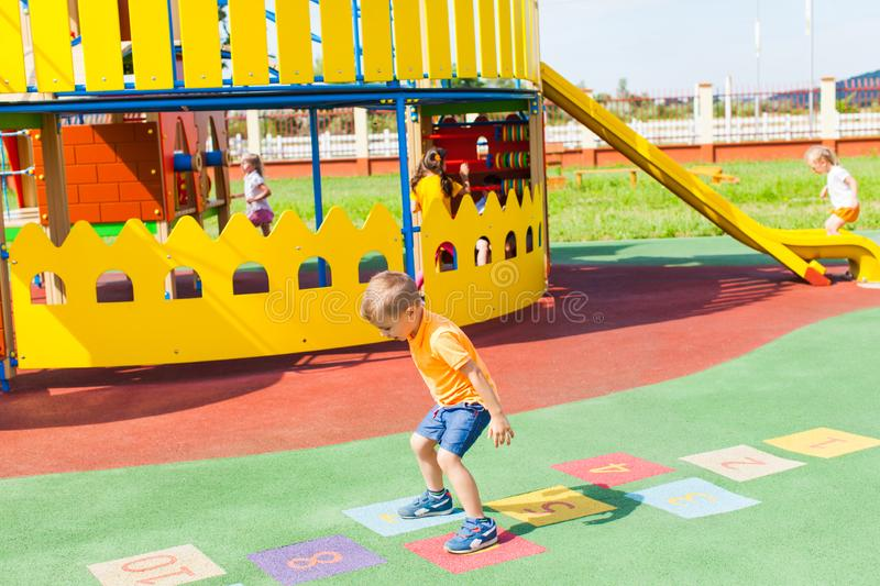 Sports games for children in the summer outdoors stock image
