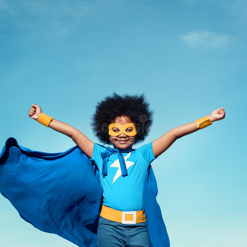 Little Boy Super bohatera pojęcie fotografia stock