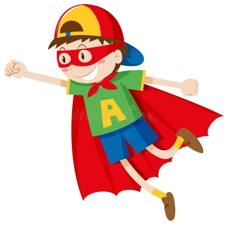Little boy in superhero costume royalty free illustration