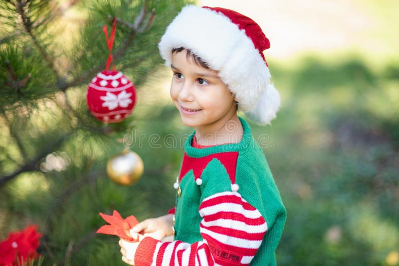 Little boy in sweater and hat waiting for a Christmas in the wood. Half-length portrait of a little boy near the christmas tree jumper child outside happy cold royalty free stock photo