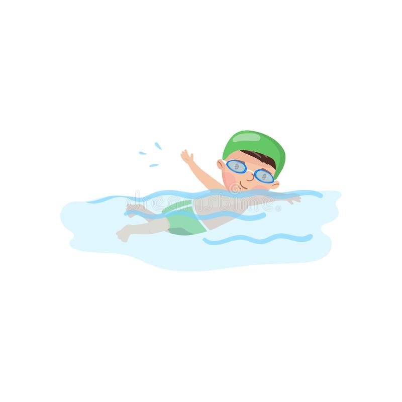 Little boy swimmer in the swimming pool, kids physical activity cartoon vector Illustration stock illustration
