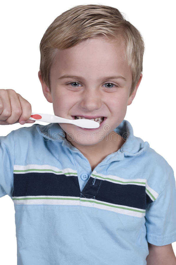 Little Boy Szczotkuje zęby obrazy stock