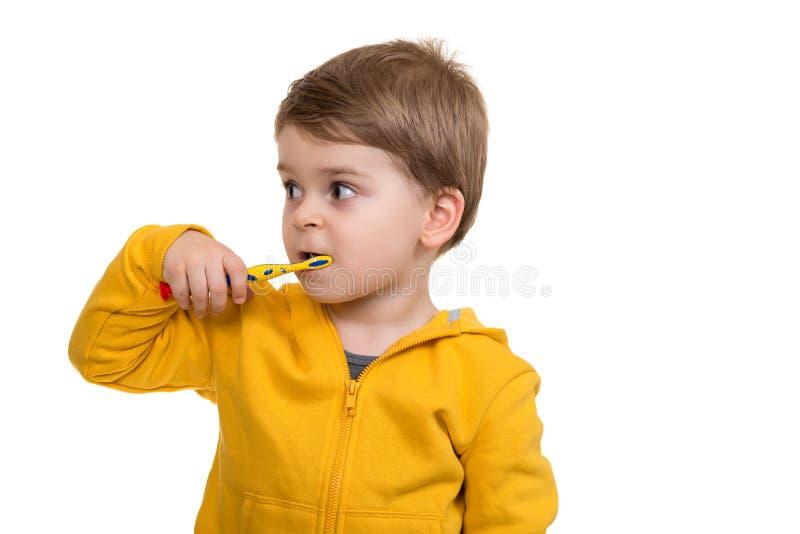 Little Boy Szczotkuje zęby na białym tle obraz royalty free