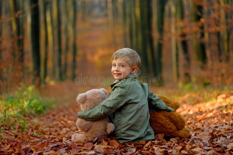 A little  boy playing in the autumn park. royalty free stock photo