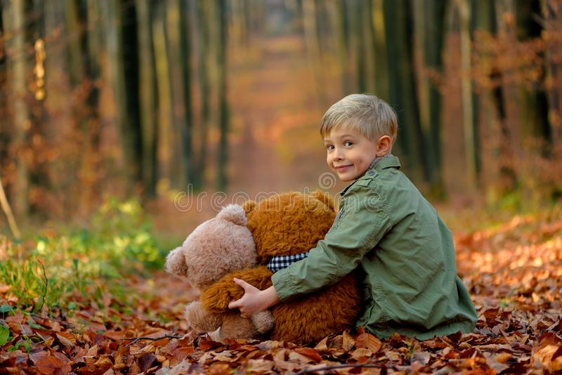 A little  boy playing in the autumn park. stock images