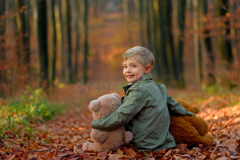 A little  boy playing in the autumn park. stock photos