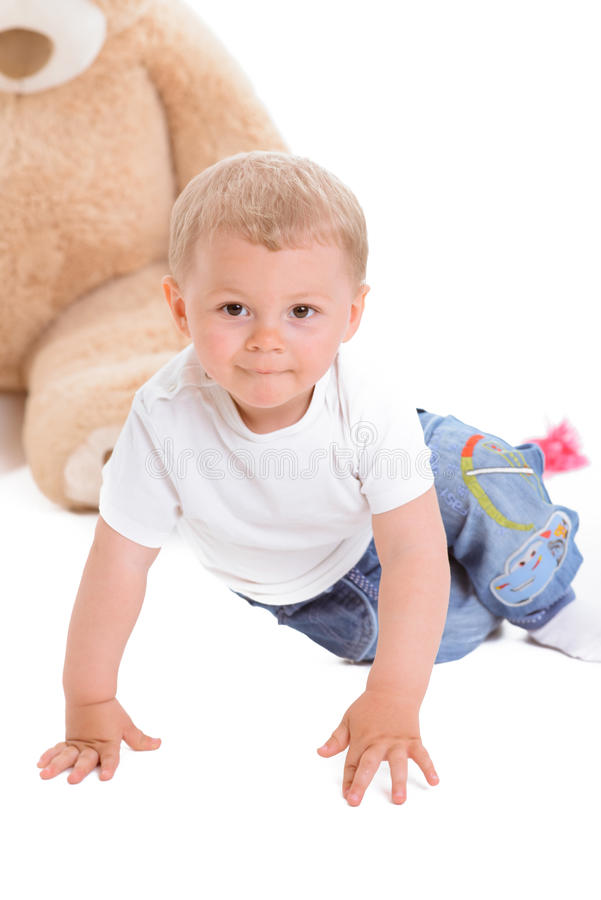 Little boy with teddy stock photo