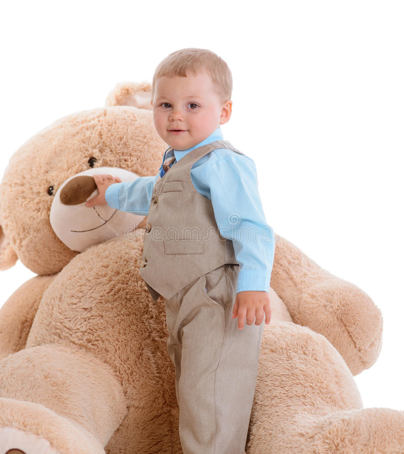 Little boy with teddy royalty free stock image
