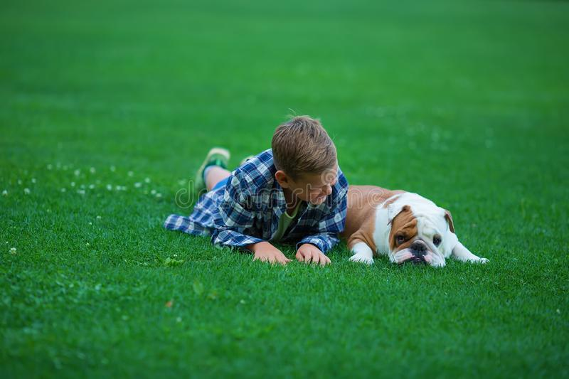 Little boy teenager with his dog bulldog in park on a sunny day on green grass park land enjoy life together with his friend.  royalty free stock photography