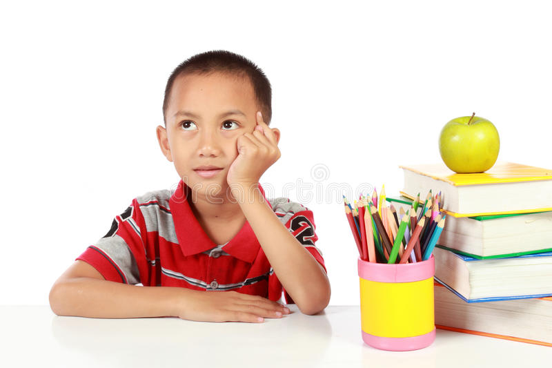 Little Boy Thinking Royalty Free Stock Image