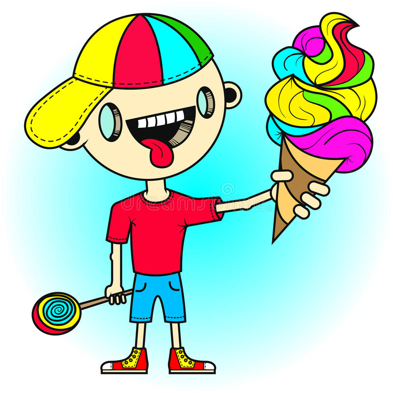 Little boy with tongue sticking out is holding a colorful ice cream in his hand stock illustration