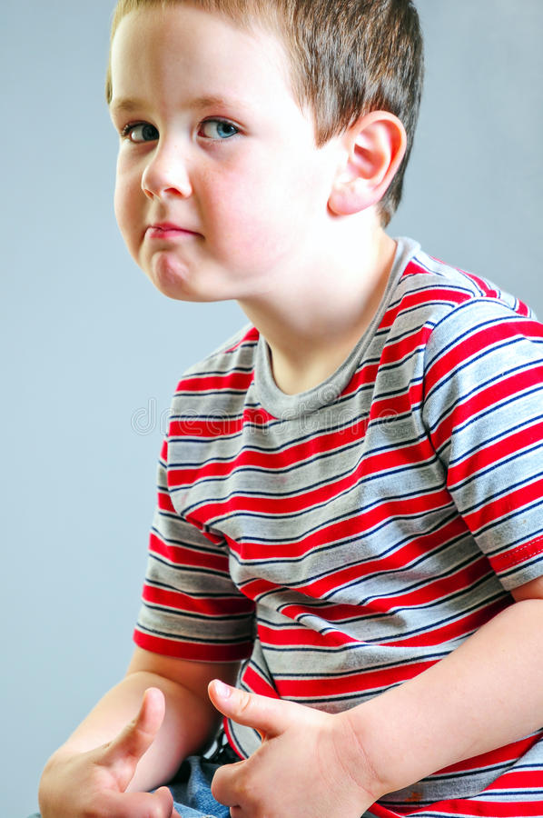 Little Boy Tough Guy Look royalty free stock photos