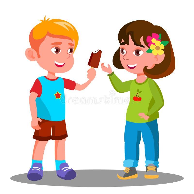 Little Boy tratta un gelato ad un vettore della bambina Illustrazione isolata illustrazione di stock
