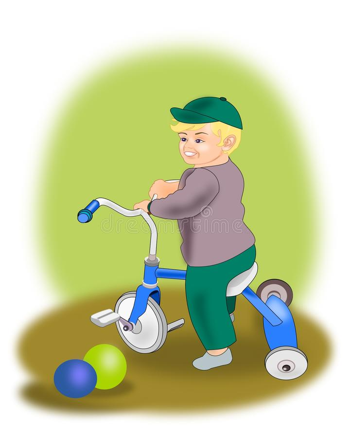 Little Boy on Tricycle royalty free illustration