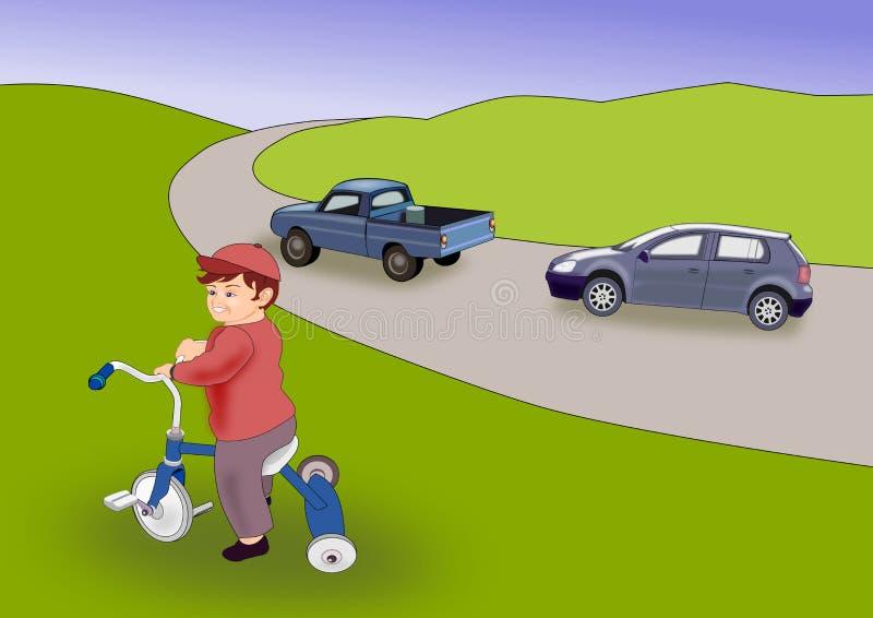 Little Boy on Trike royalty free illustration