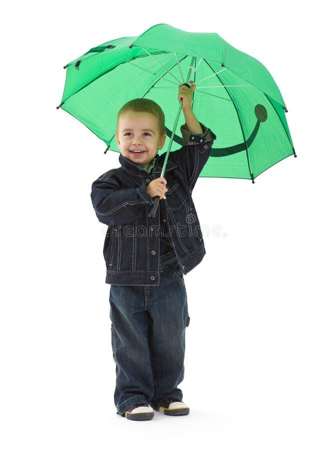 Little boy with umbrella stock photos